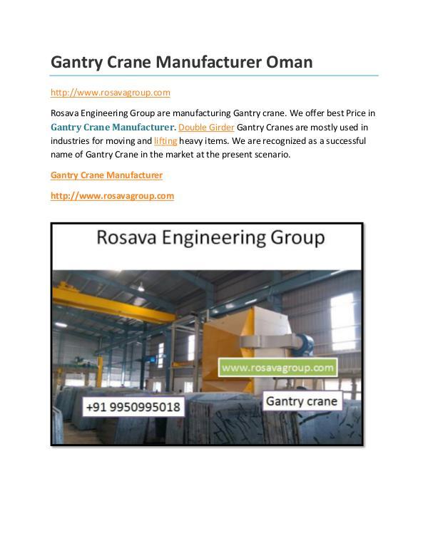 Gantry Crane Manufacturer Oman