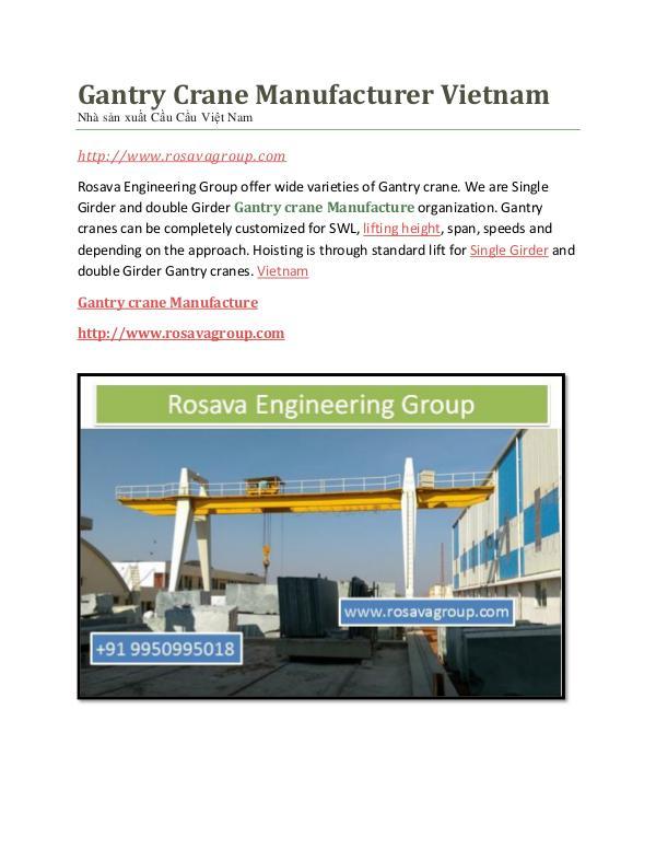 Gantry Crane Price Gantry Crane Manufacturer Vietnam