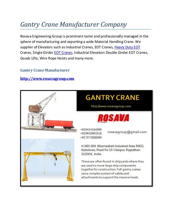 Gantry Crane Supplier Gantry Crane Manufacturer Company