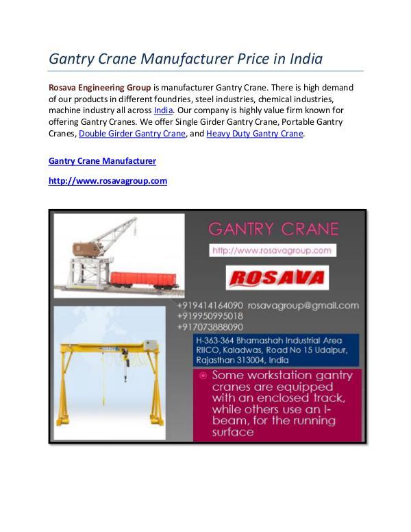 Gantry Crane Manufacturer Price in India