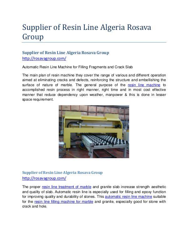 Supplier of Resin Line Algeria Rosava Group Supplier of Resin Line Rosava Group
