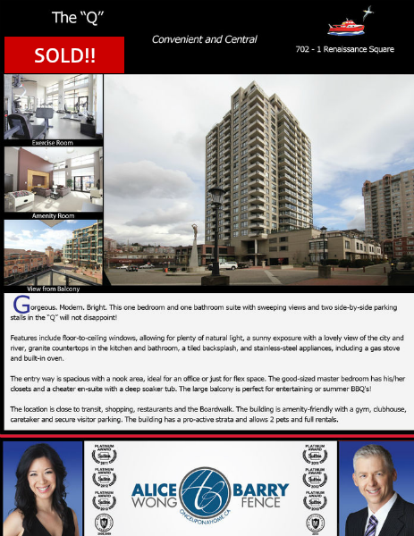 Sold Listings - New Westminster 702 - 1 Renaissance Square