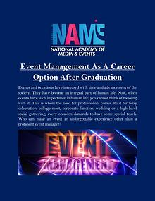 Event Management As A Career Option After Graduation