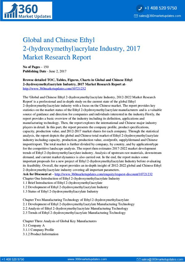 23-06-2017 Ethyl-2-hydroxymethyl-acrylate-Industry-2017-Marke