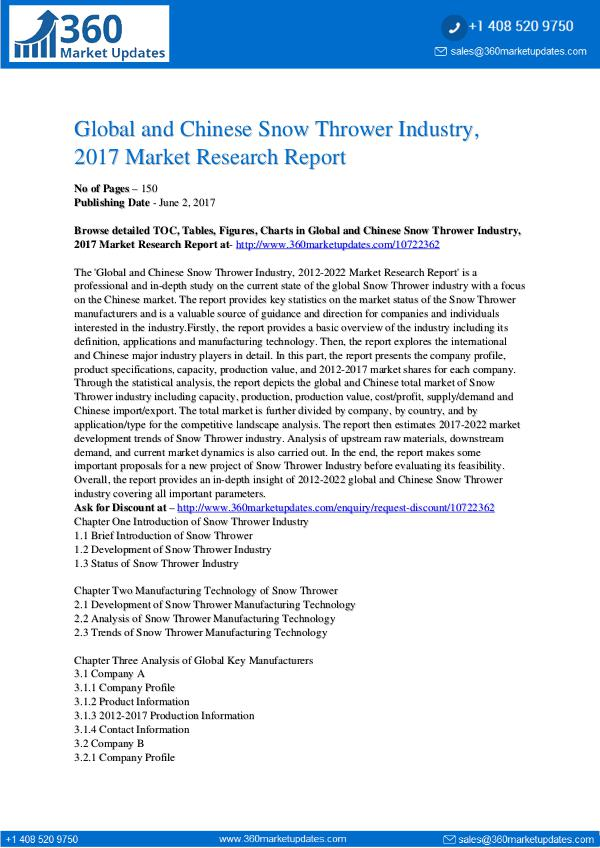 23-06-2017 Snow-Thrower-Industry-2017-Market-Research-Report