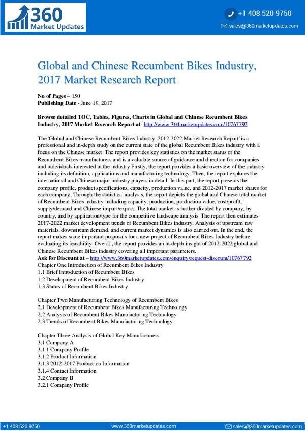 23-06-2017 Recumbent-Bikes-Industry-2017-Market-Research-Repo