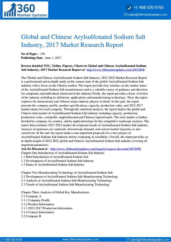 27-06-2017 Arylsulfonated-Sodium-Salt-Industry-2017-Market-Re