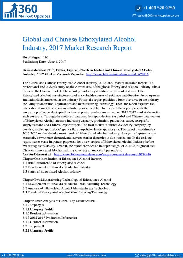 27-06-2017 Ethoxylated-Alcohol-Industry-2017-Market-Research-