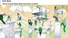 Cat Sims is a London based Line & Comic book style illustrator