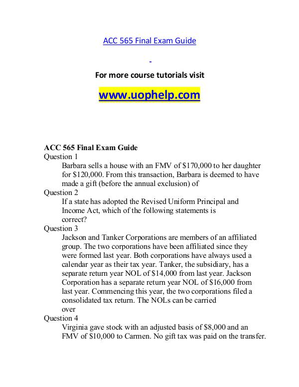ACC 565 help A Guide to career/uophelp.com ACC 565 help A Guide to career/uophelp.com