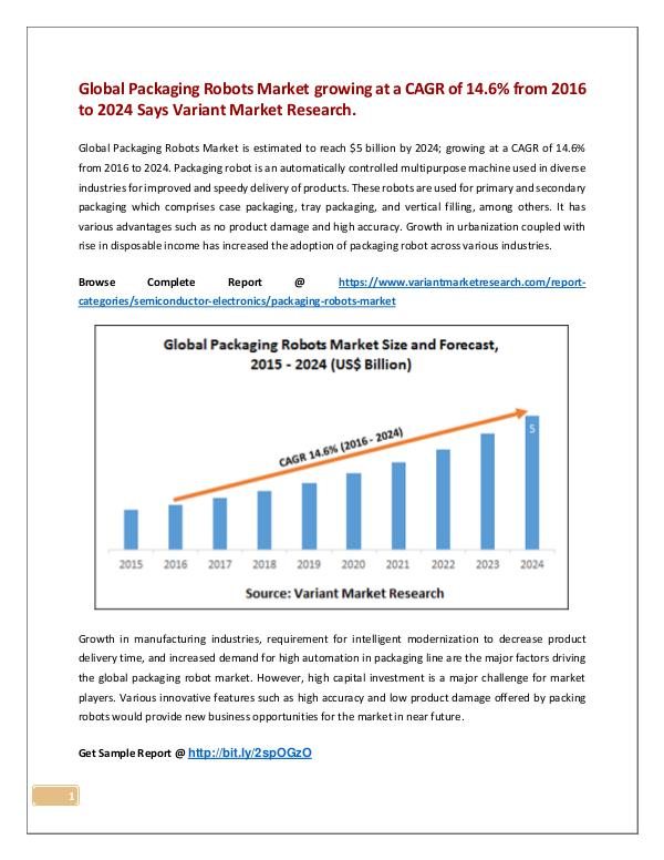 Global Packaging Robots Market is estimated to reach $5 billion by 20 Global Packaging Robots Market