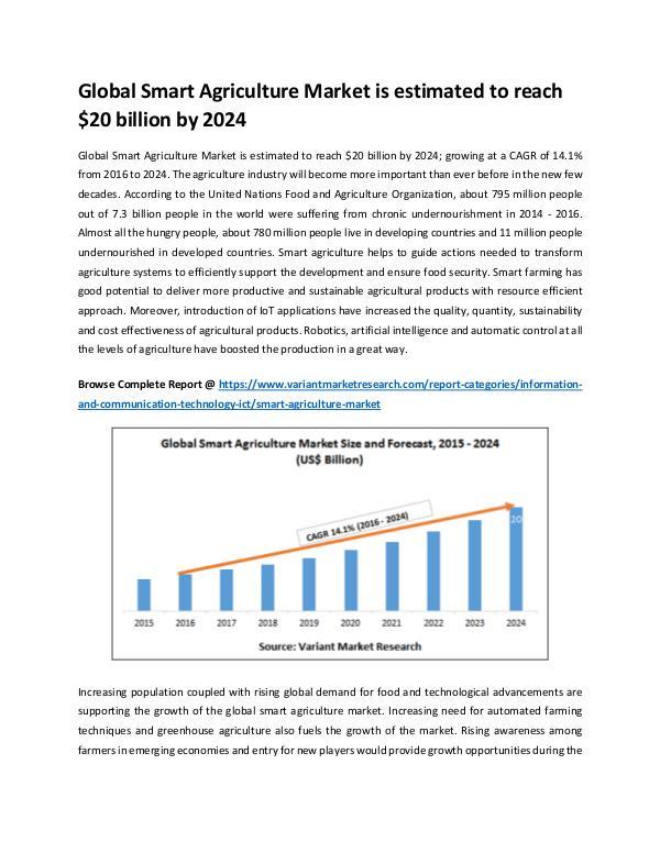 Global Smart Agriculture Market is estimated to reach $20 billion by Global Smart Agriculture Market is estimated to re
