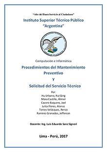 Procedimientos del Mantenimiento Preventivo y Solicitud del Servicio