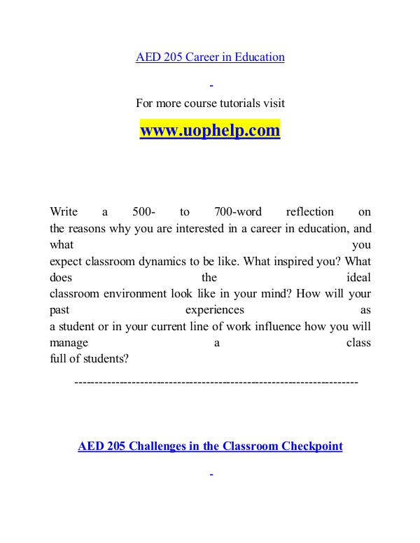 AED 205 help A Guide to career/uophelp.com AED 205 help A Guide to career/uophelp.com