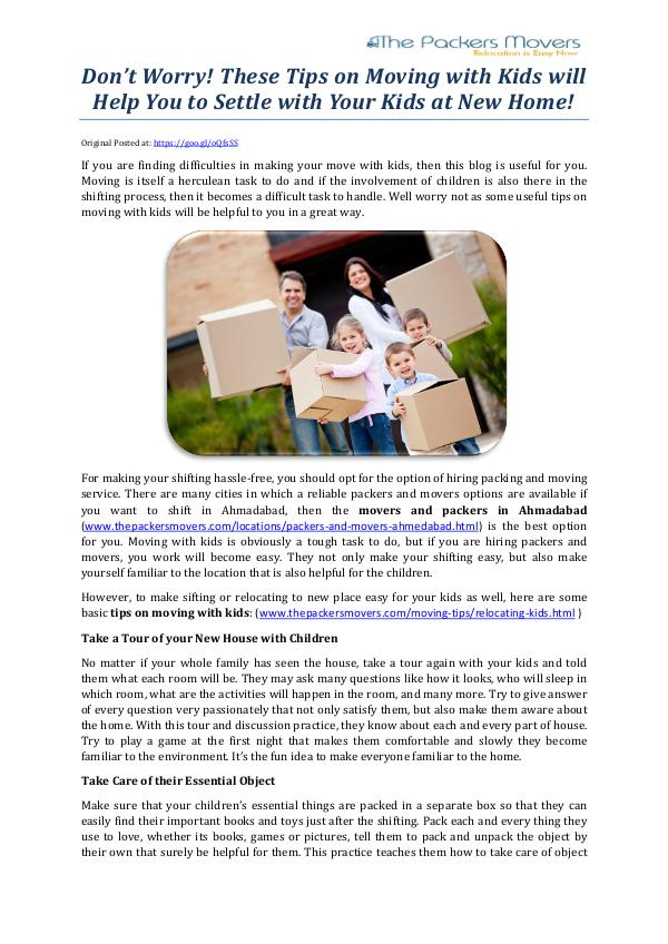 Don't Worry! These Tips on Moving with Kids will Help You to Settle w Don't Worry! These Tips on Moving with Kids will H