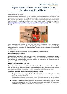 Tips on How to Pack your Kitchen before Making your Final Move!