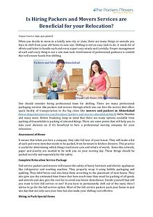 Is Hiring Packers and Movers Services are Beneficial for your Relocat