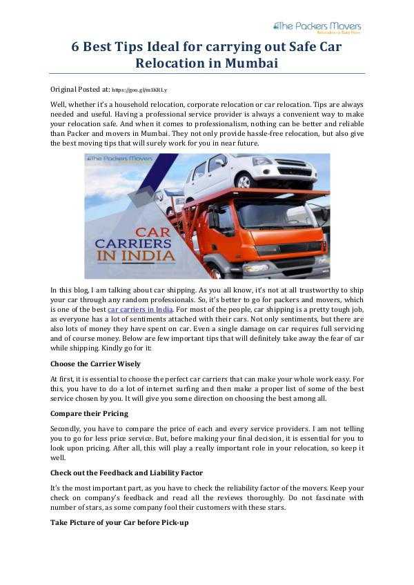 My first Magazine 6 Best Tips Ideal for carrying out Safe Car Reloca