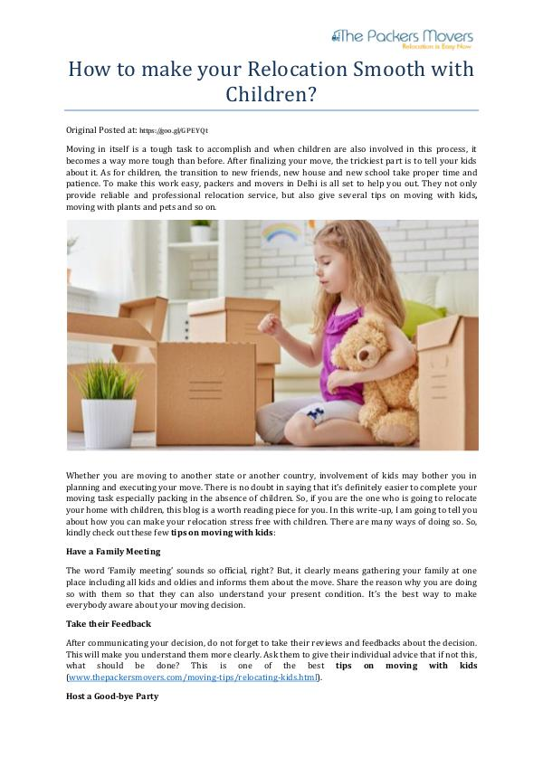 How to make your Relocation Smooth with Children