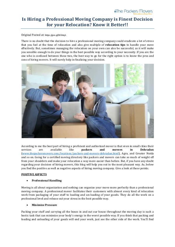My first Magazine Is Hiring a Professional Moving Company is Finest
