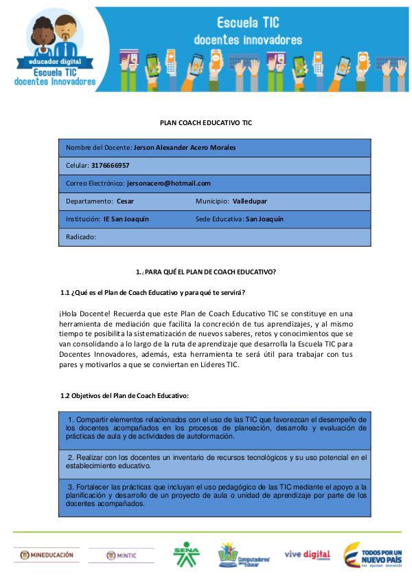 PLAN COACH EDUCATIVO PLAN COACH EDUCATIVO TIC