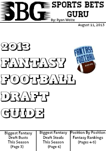 2013 Fantasy Football Draft Guide