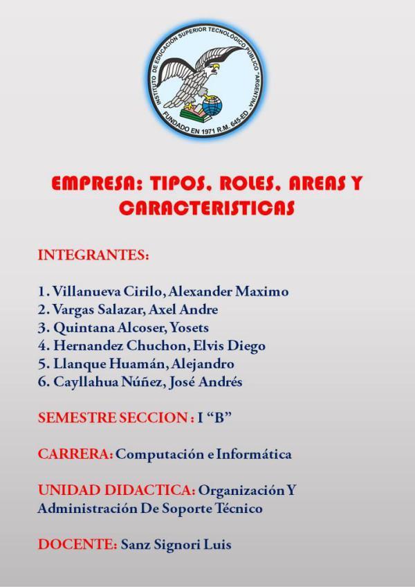 Monografía de La Empresa: Tipos, Roles, Áreas y Caracteristica Monografía de La Empresa: Tipos, Roles, Áreas y Ca