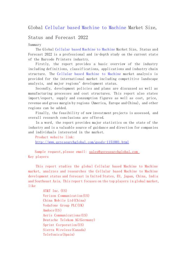Global Cellular based Machine to Machine Market Si