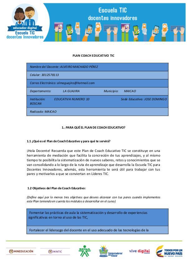 DIDÁCTICA DE LA LECTURA Y LA ESCRITURA Plan_Coach_Educativo_TIC ALVEIRO MACHADO PÉREZ