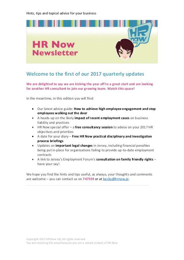 Samyuktha HR Now Q1 Newsletter 2017