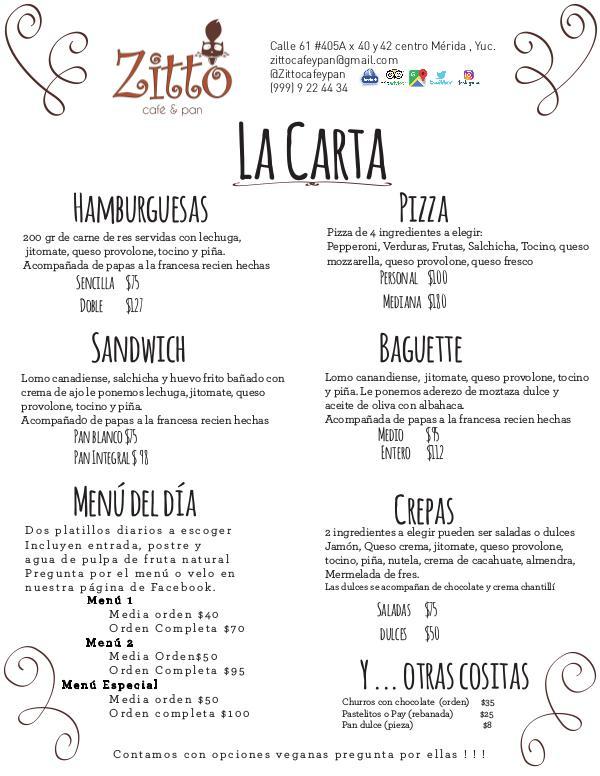 Menú 2018 Zitto Café y Pan Menú 2018 volumen 1