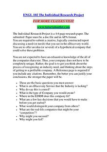 ENGL 102 THE INDIVIDUAL RESEARCH PROJECT/ TUTORIALOUTLET DOT COM