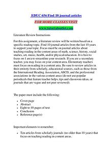EDUC 656 FIND 10 JOURNAL ARTICLES/ TUTORIALOUTLET DOT COM