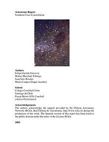 Proyecto Astronómico Constelación Cruz del Sur