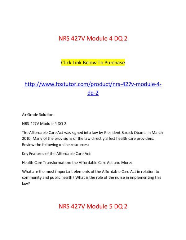 NRS  427V All Assignments NRS  427V All Assignments