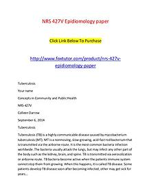 NRS 427V Epidiomology paper
