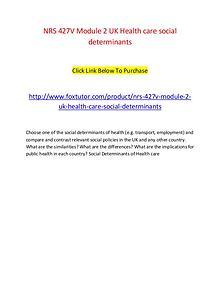 NRS 427V Module 2 UK Health care social determinants