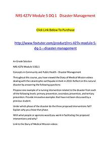 NRS 427V Module 5 DQ 1   Disaster Management