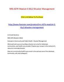 NRS 427V Module 5 DQ 2 Disaster Management
