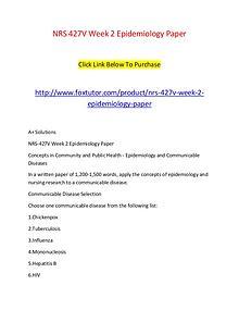 NRS 427V Week 2 Epidemiology Paper
