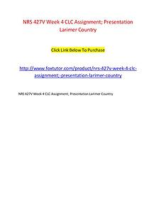NRS 427V Week 4 CLC Assignment; Presentation Larimer Country