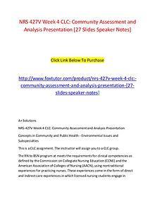 NRS 427V Week 4 CLC Community Assessment and Analysis Presentation [2