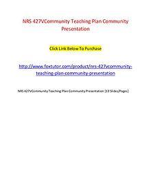 NRS 427VCommunity Teaching Plan Community Presentation
