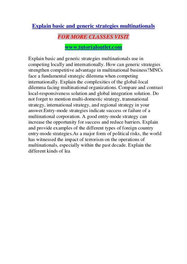 EXPLAIN BASIC AND GENERIC STRATEGIES MULTINATIONALS/ TUTORIALOUTLET D EXPLAIN BASIC AND GENERIC STRATEGIES MULTINATIONAL