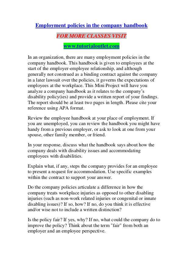 EMPLOYMENT POLICIES IN THE COMPANY HANDBOOK/ TUTORIALOUTLET DOT COM EMPLOYMENT POLICIES IN THE COMPANY HANDBOOK/ TUTOR