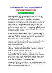 EMPLOYMENT POLICIES IN THE COMPANY HANDBOOK/ TUTORIALOUTLET DOT COM