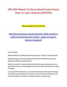 NRS 410V Module 5 Evidence Based Practice Project   Paper on Type 2 D