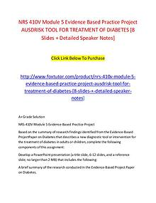 NRS 410V Module 5 Evidence Based Practice Project AUSDRISK TOOL FOR T
