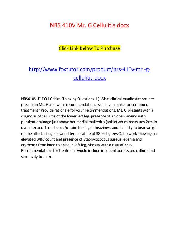 NRS 410V Mr. G Cellulitis docx NRS 410V Mr. G Cellulitis docx