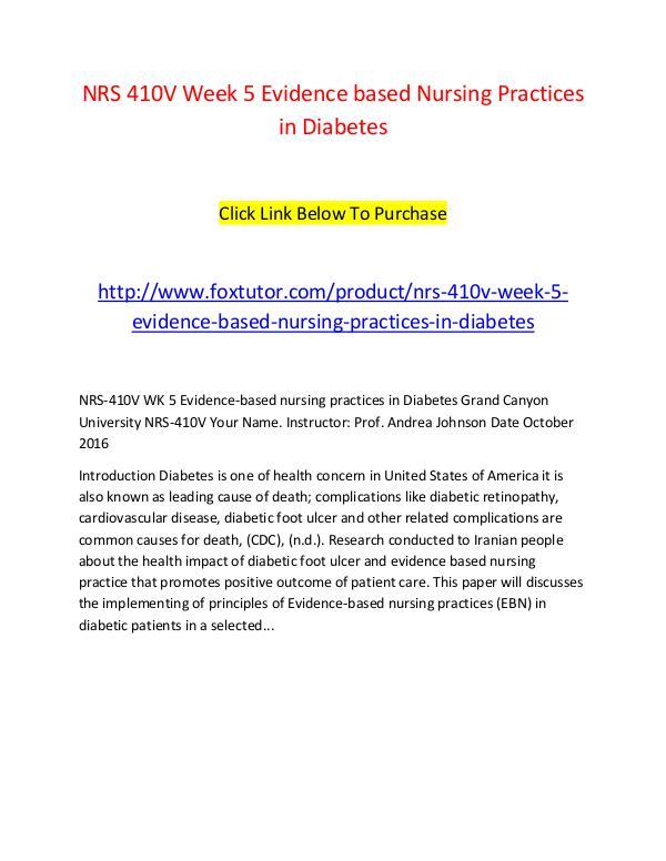 NRS 410V Week 5 Evidence based Nursing Practices in Diabetes NRS 410V Week 5 Evidence based Nursing Practices i